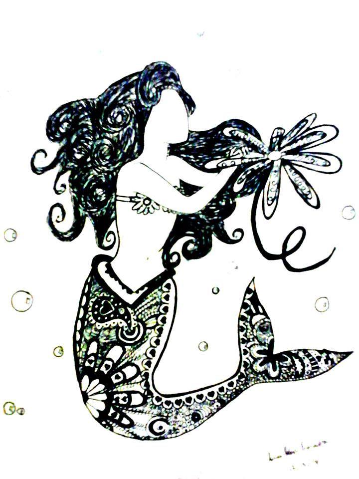 Zentangle mermaid