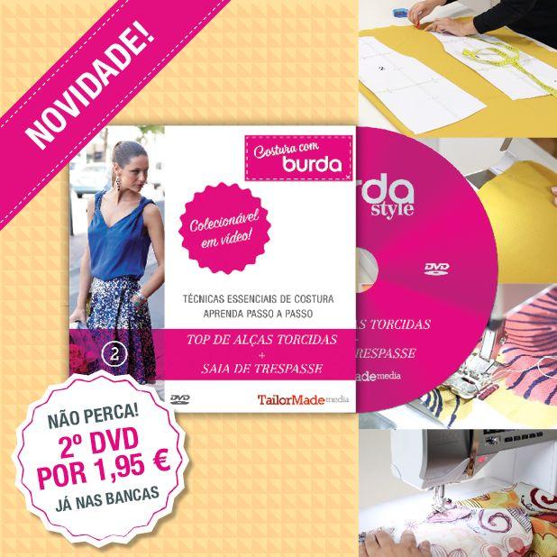 """Com a nova edição da burda style podes obter por apenas +1,95€ o segundo DVD da coleção """"Costura com burda""""! São 2 vídeos tutoriais (um top de alças torcidas e uma saia de trespasse) + 2 moldes individuais e digitais para imprimir + instruções. Vais perder este fantástico colecionável?"""