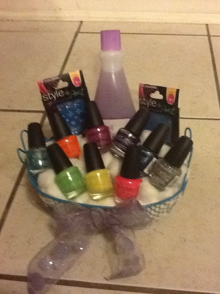 Fingernail polish gift basket. Polish, remover, cotton, nail stickers. Great gift for a teen. Shop dollar store and won't break the bank!