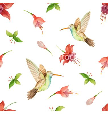Seamless pattern vector hummingbird and flowers - by meggichka on VectorStock®