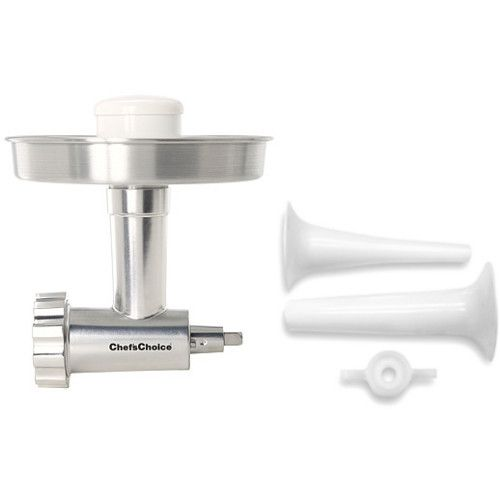 Get the most from your KitchenAid stand mixer with the Chef's Choice meat grinder with bonus KitchenAid sausage stuffer attachment set. The meat grinder includes coarse and medium disks and a plastic food pusher, and the sausage stuffer includes two stuffing tubes, one small and one large.