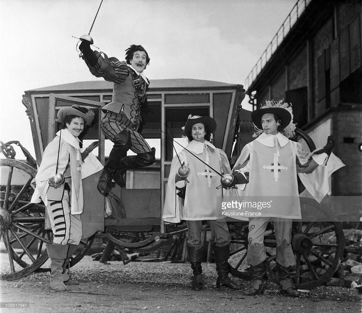 From Left To Right, Actors Bernard Woringer (Porthos), Gerard Barray (D'Artagnan), Georges Descrieres (Athos) And Jacques Toja (Aramis), Directed By Bernard Borderie In Joinville, On April 23Rd, 1961.