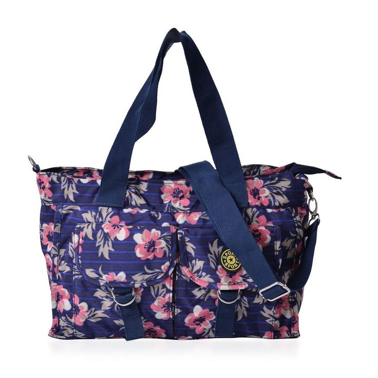Pink and Multi Colour Floral Pattern Navy Blue Colour Tote Bag With External Zipper Pocket and Adjustable and Removable Shoulder Strap (Size 37x25x12 Cm) | TJC
