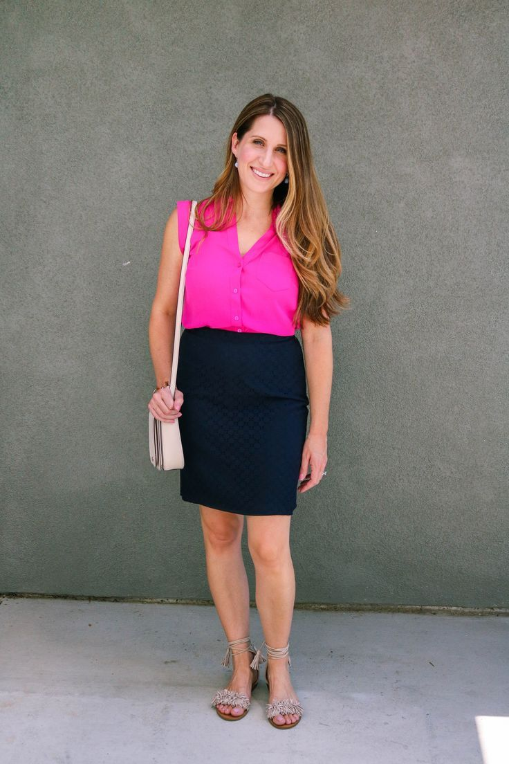 Hot Pink & Navy Outfit – She Knows Chic
