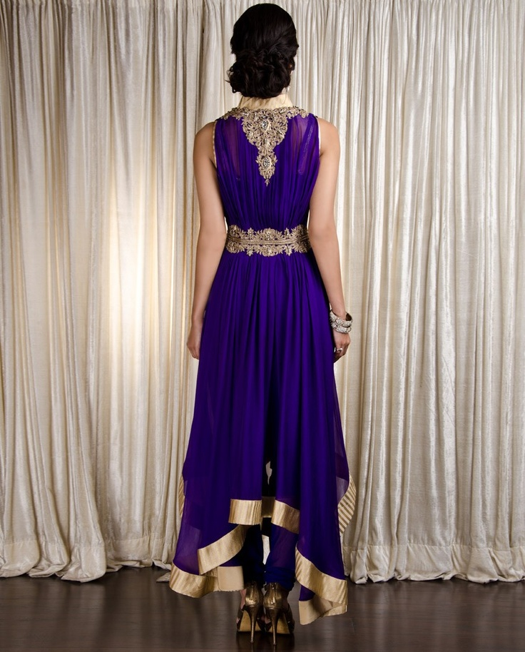 Han/Chinese #Purple #Zardozi Embroidered Suit Details @ Exclusively.In