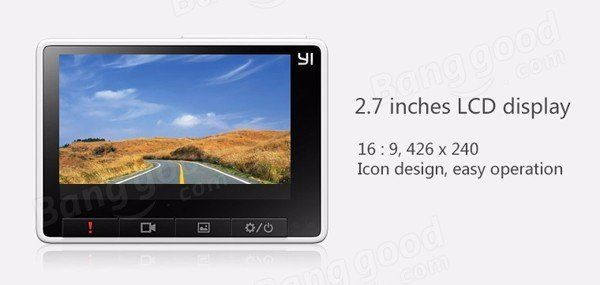 Xiaomi Yi 2.7 Inch 165 Degree 1296P Car DVR Recorder Support ADAS