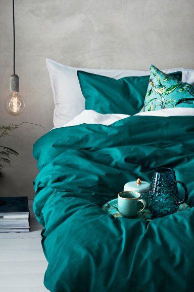 Хлопковое постельное белье - Сине-зеленый - HOME   H&M RU 1