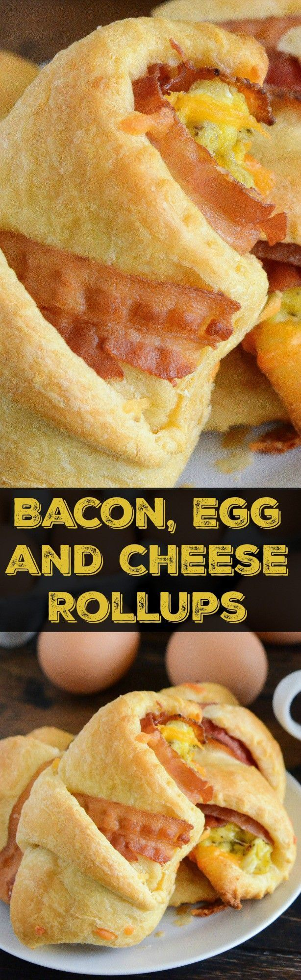 Bacon, Egg & Cheese Rollups: crispy bacon, creamy Handsome Brook Farm Pasture Raised Eggs & sharp cheddar cheese are baked in a buttery crescent to create the best handheld breakfast! #Partner #HelloHandsome #AlwaysOrganic