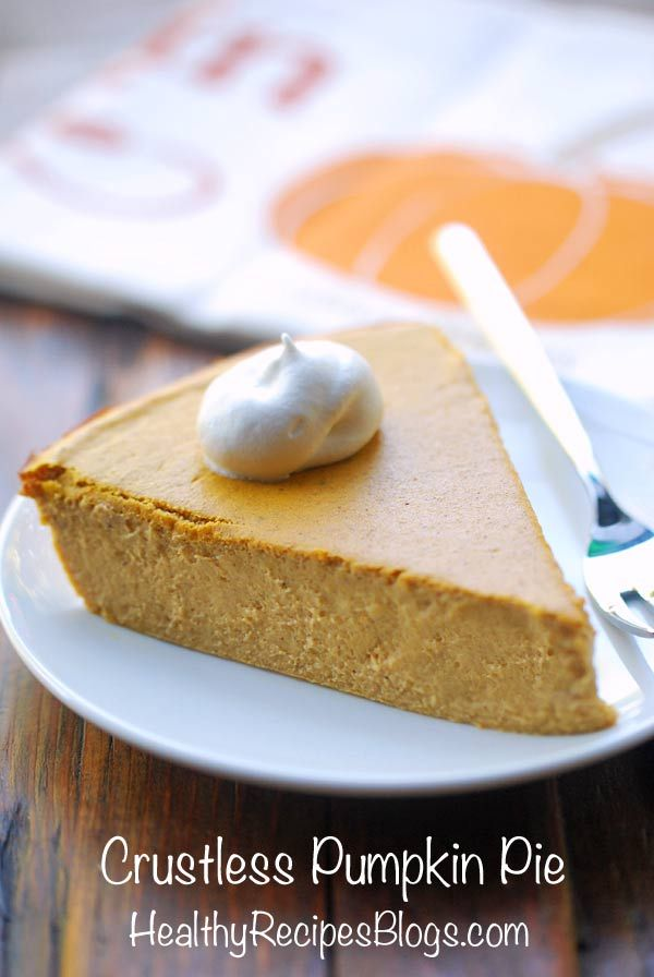 A creamy, delicious crustless pumpkin pie that has tons of flavor but far fewer calories than traditional pumpkin pie. It's also gluten-free, refined-sugar free, and low-carb.