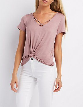 Strappy Knotted Crop Top: Charlotte Russe