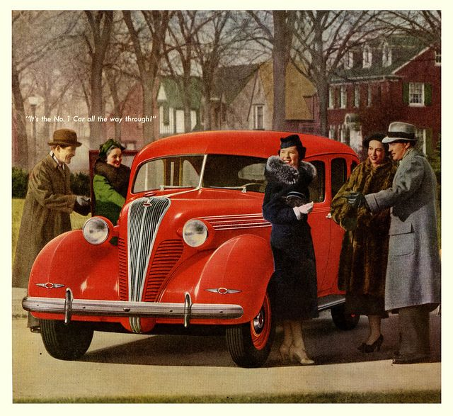 It's hard to decide which I like more, the gorgeous fire lipstick red, 1938 Terraplane or the ladies' timelessly stylish coats.
