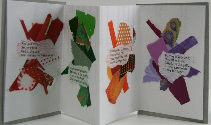 Color Poems Kirjoitetaan runoja asioista, jotka ovat tietynvärisiä. Sen jälkeen sitten tehdään papereita esim. aikakauslehdistä repimällä runon värin sävyinen tausta. Kauniita!