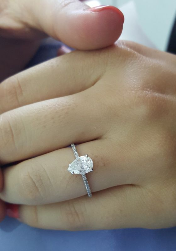 1 Carat E SI2 Pear Shape Natural Diamond Engagement Ring 14K White Gold CT New