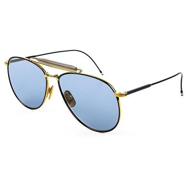 Thom Browne TB-015-LTD TB-015-LTD-NAV TB-015-LTD-NAV Sunglasses ($615) ❤ liked on Polyvore featuring accessories, eyewear, sunglasses, black, lens glasses, thom browne aviator, unisex sunglasses, aviator style sunglasses and aviator style glasses