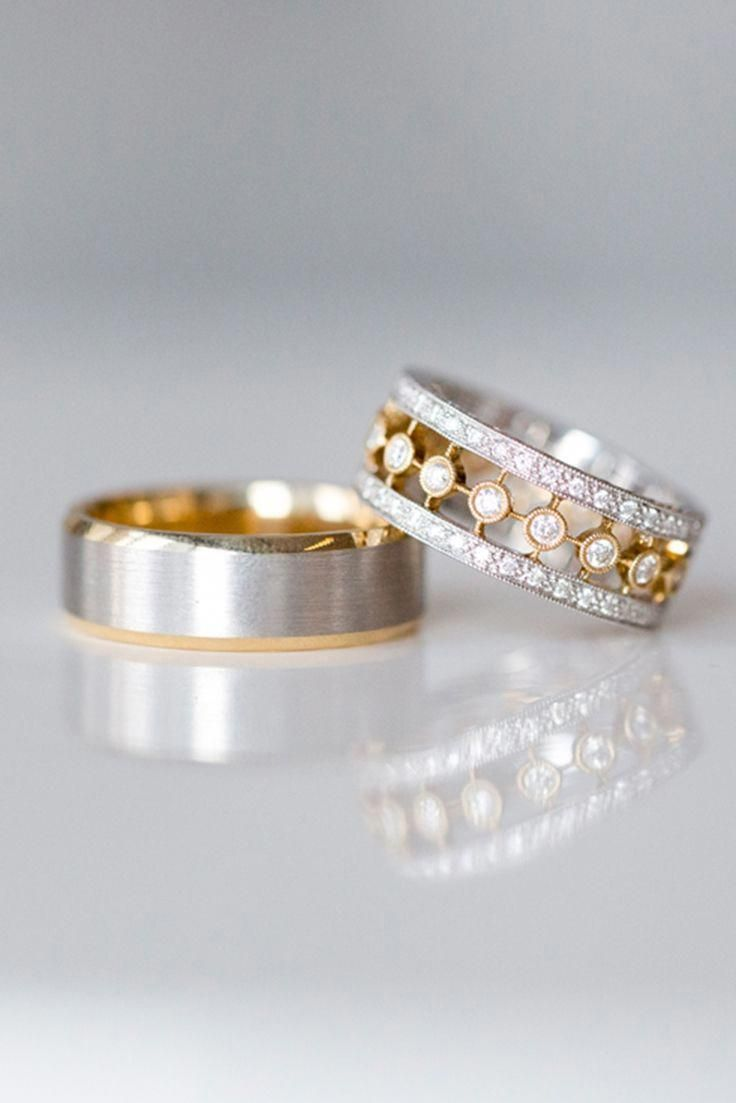 Mixed Metals Are A Big Trend For Wedding Rings We Love The Mix Of Yellow And White Gold Combined With Diamonds From Bev Gioielli Gioielli Fai Da Te Matrimonio
