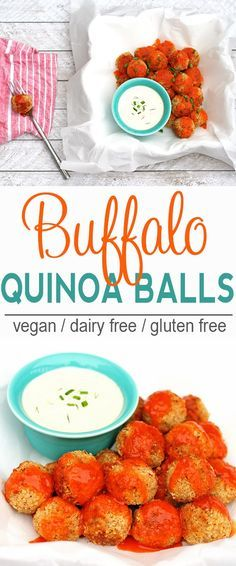 Buffalo Quinoa Balls | Vegan, Dairy Free, Gluten Free | These Buffalo Quinoa Balls are a nice way to get that Buffalo sauce fix without having the chicken wings! | From @V_Nutrition | http://www.vnutritionandwellness.com