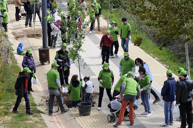 Alrededor de 40 voluntarios han participado un año más en el Día del Voluntariado de Iberdrola en castilla y León, que ha tenido lugar en las márgenes del río Duero a su paso por la capital soriana