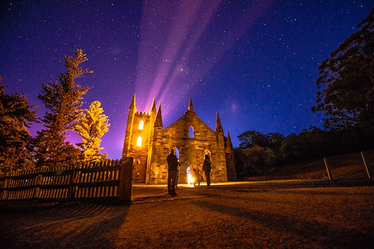 Take a 90-minute tour through the darkened grounds, illuminating the way with the soft glow of lanterns and spine-tingling tales of the paranormal presence at Port Arthur (Tourism Tasmania & Poon Wai Nang) #UniqueTassie @discovertas