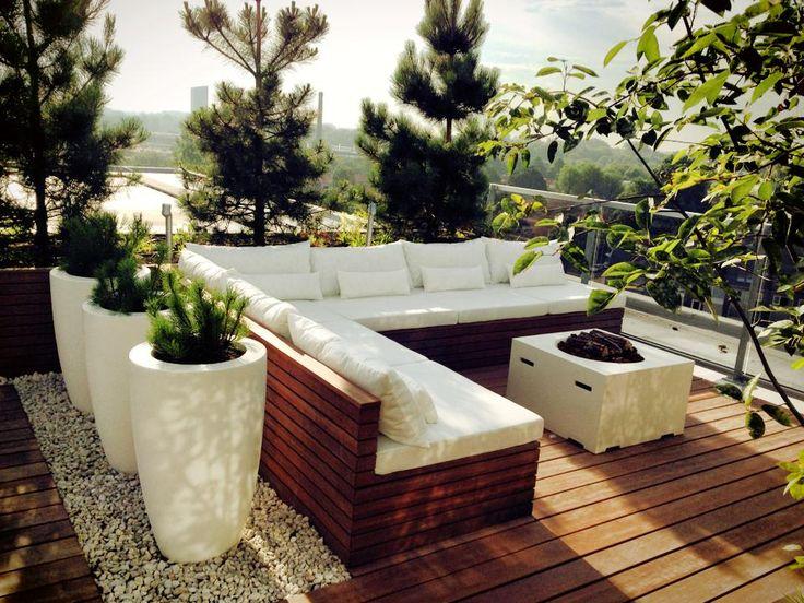 hogere coniferen, divider door potten. Rooftop terrace, Piushaven,Tilburg, NL, by Studio REDD