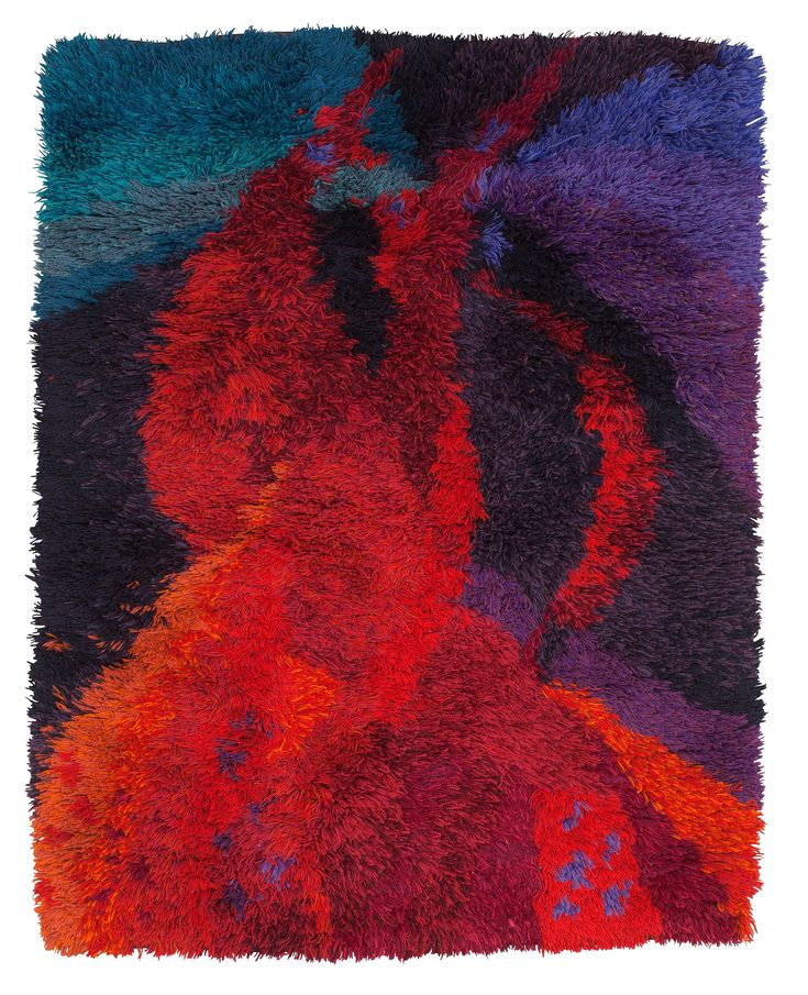 Ulla Schumacher-Percy; Wool 'Eldslågan' Rya Rug for Borgs Fabriker, 1957.