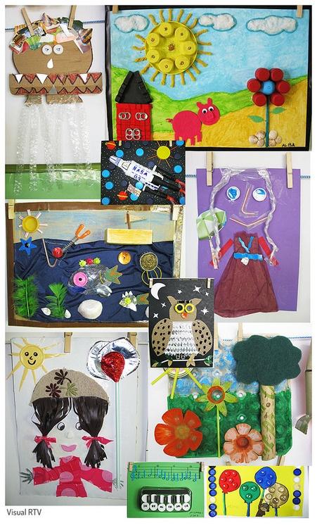 -Spanish-Reciclar con arte. Obras realizadas con materiales reciclados hechas por niños de 3 a 5 años. -English-Recycle with art. Works with recycled materials made by 3 to 5 years old children.