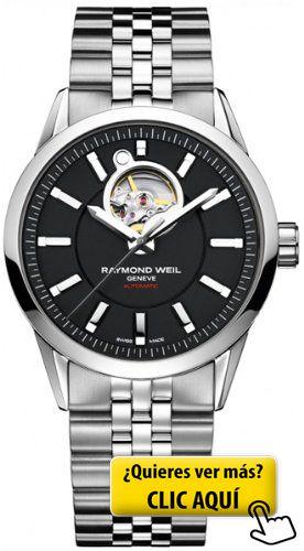 Raymond Weil - Reloj negro con correa de acero... #reloj #hombre
