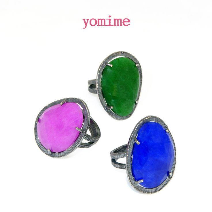 Nueva sortija Boho realizada en plata oxidada de primera ley y jades.  Disponible en verde, azul y rosa.