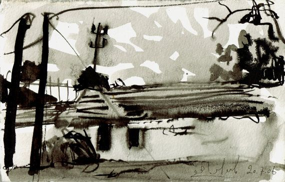 The old shed - original ink landscape drawing, Shirley Kanyon