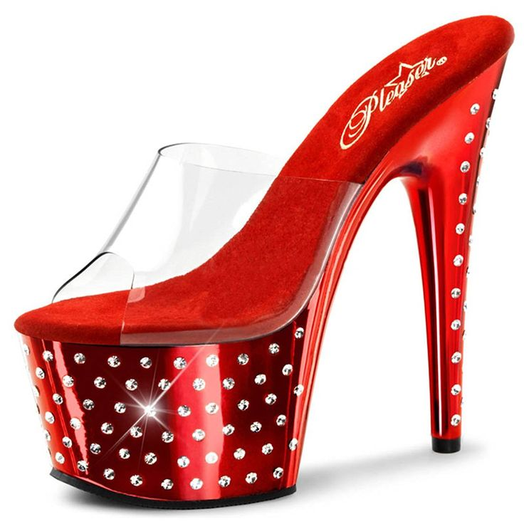 Super Sexy Cherry Red High Heels with Rhinestones and 7 Inch Heels *** Check this awesome product by going to the link at the image.
