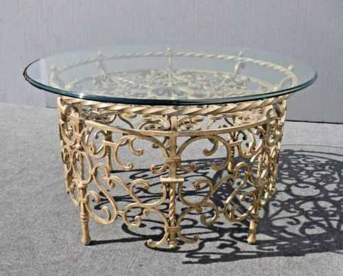 Vintage Spanish Style Round Gold Wrought Iron Glass Top Coffee