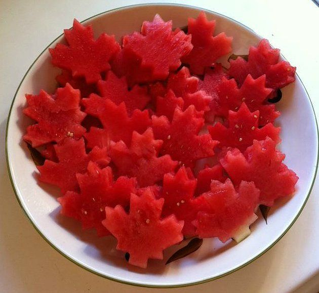 Simple Canada Day Treat Watermelon Maple Leafs via Pickle Planet Moncton