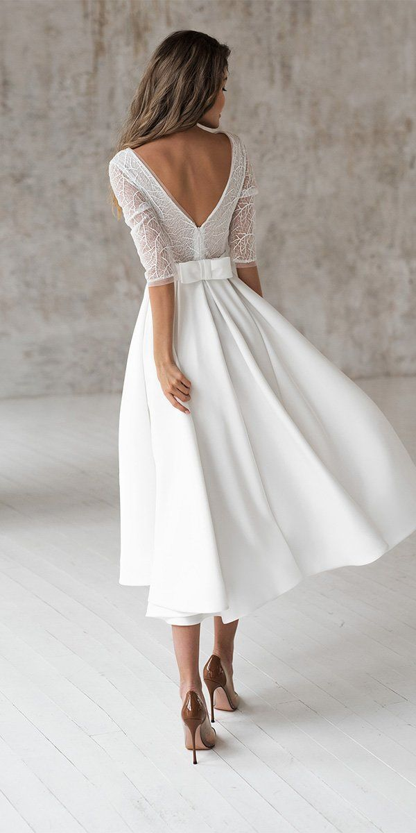 24 Gorgeous Tea Length Wedding Dresses Wedding Forward In 2020 Tea Length Wedding Dress Short Wedding Dress Civil Wedding Dresses