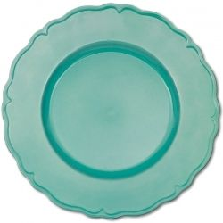 Tropical teal charger plate with a scalloped border.  A pretty charger plate can make even the plainest table look elegant.