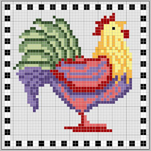 Rooster hama perler beads pattern