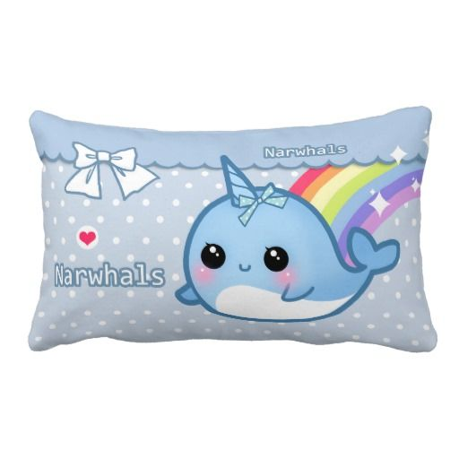 Cute rainbow narwhal on white & blue polka dots pillows
