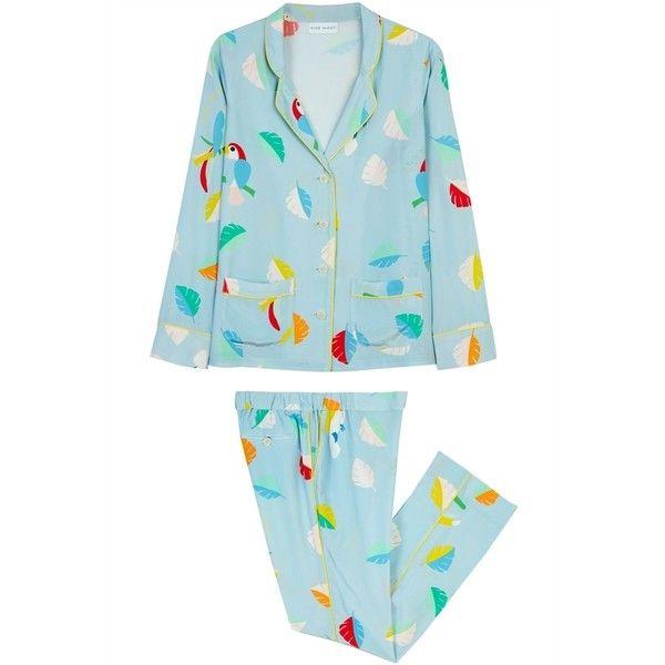 Mira Mikati Printed Bird Pyjamas Cool ($290) ❤ liked on Polyvore featuring intimates, sleepwear, pajamas, silk pajamas, blue silk pajamas, silk sleepwear, silk pjs and yellow pajamas