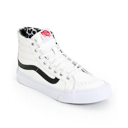 Vans SK8 Hi Slim White Leather & Leopard Shoes