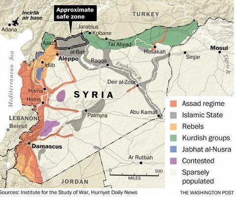 "SYRIA SITUATION MAP: Tukey's desired ""Safe Zone"".  Who benefits?  From colleague @MKellerdal"
