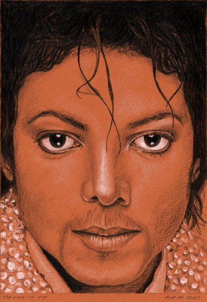 The King of Pop, Charcoal, White chalk and Ink on colored paper, 15 x 21 cm.  Assignment.