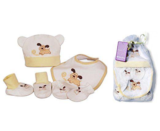 Cofanetto regalo di nascita nuovo nato bambino berretto Bavaglino Pantofole Guanti baby-bow tema cane