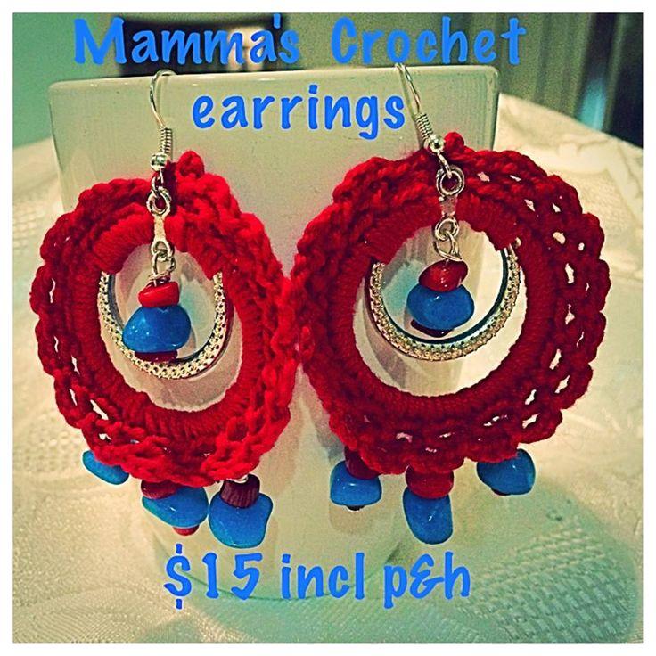 Handmade by Mamma's Crochet Tribal Look, Crochet cotton, bead and metalic earrings