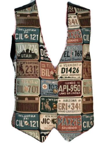 Vintage EVIDENCE Unique Licence Plate Pattern Vest Medium Womens Brass Buttons #Evidence #Vest #Casual