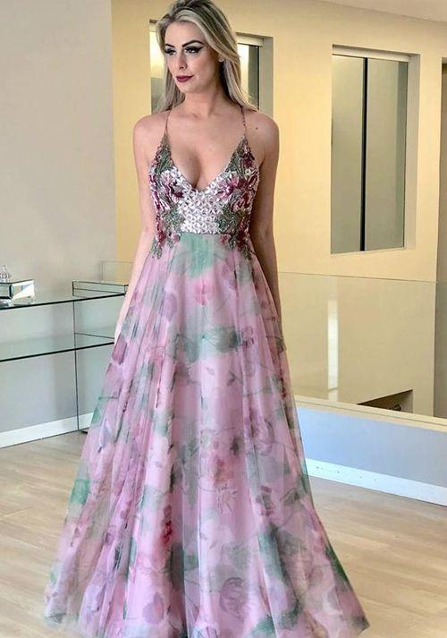 4fc243cc3 VESTIDO LONGO ESTAMPADO PARA CASAMENTOS | Vestido de festa longo