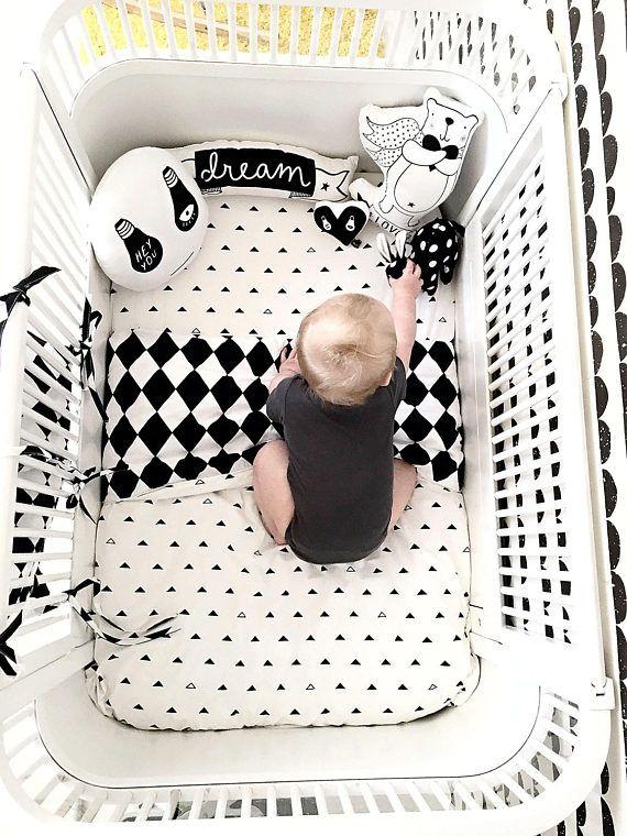 Zwart-wit Baby beddengoed / zwart-wit wieg beddengoed Set /
