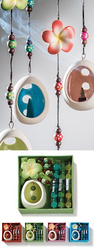 Hanging flower ceramic incense holder gift box from stores.ebay.co.uk/flutterbybazaar