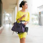 Lemon sweater & banded pencil skirt - love the color combo