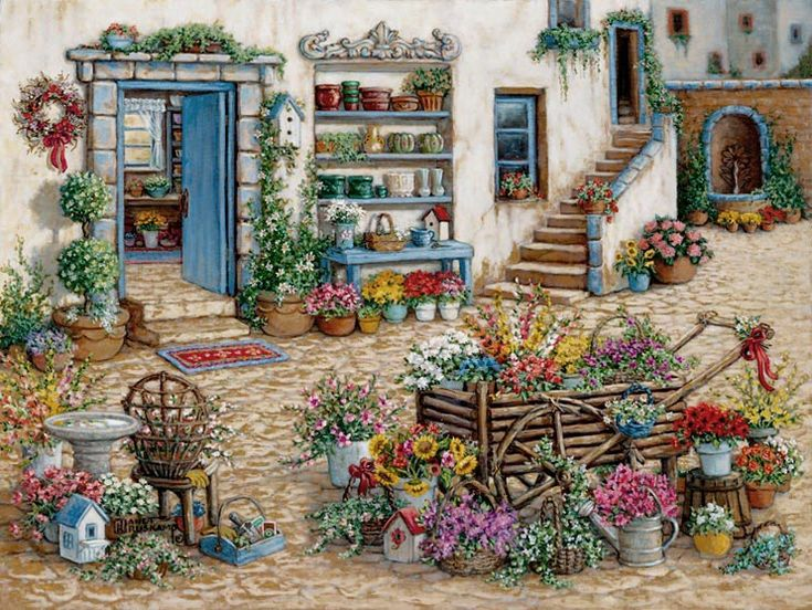 Janet Kruskamp's Paintings - Courtyard Flower Shoppe, a painting of a colorful courtyard in front of the flower shop. Flowers sit everywhere, including around and in a small cart in the right foreground. Flowers and pots sit on shelves built into the outside wall while a fountain streams water out of a wall in the background. One of the Gardens and Florals Gallery of Original Oil Paintings and  original paintings by Janet Kruskamp