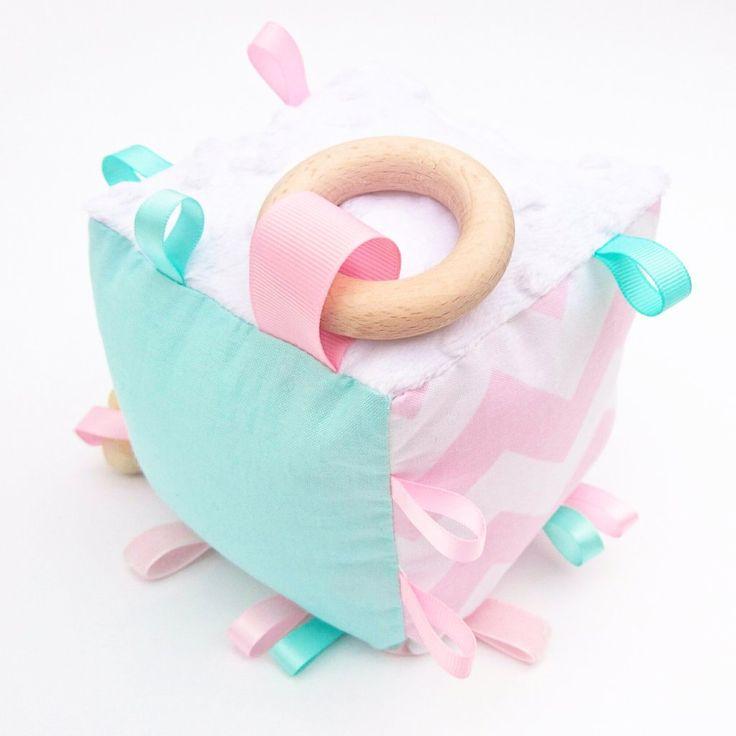Mint + Baby Pink Chevron Cognitive Cube