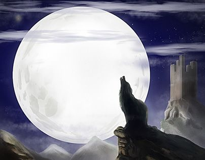 """Check out new work on my @Behance portfolio: """"Wolf and Moon"""" http://be.net/gallery/36438579/Wolf-and-Moon"""