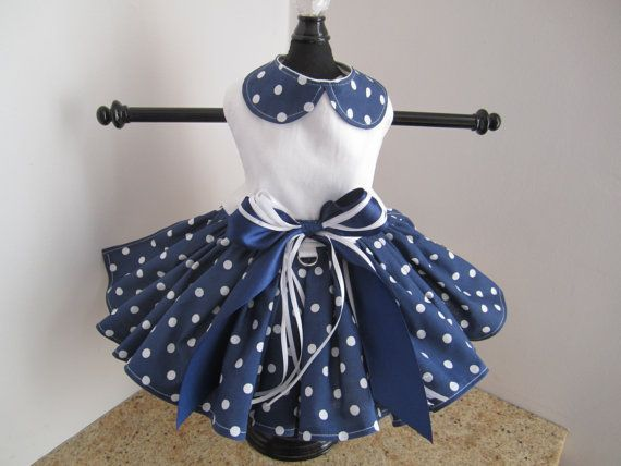 Items similar to Dog Dress Navy With White  Polka Dots and Collar on Etsy